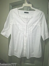 Designer George 8 White Square Neckline Stretch Pleat Front  Shirt 3/4 Sleeve