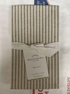 1 Pottery Barn Wheaton Stripe Pillow Sham, King, Flax 6656750 NEW