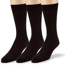 EMEM Men's Ribbed Cotton Classic Crew Dress Socks 3-Pack, Big and Tall Available