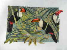 Completed Colorart Crewel Embroidery If Toucan Three Can Birds - Jca 18x10 new