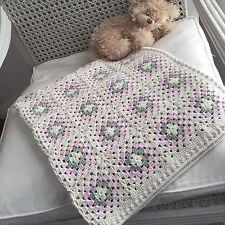 Brand New Hand Crochet Afghan Square Baby Blanket