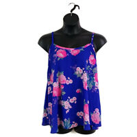 Torrid Womens sz 1 Sophie Neon Pink Blue Floral Swing Cami Tank Top Lace Back