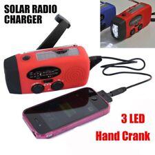 Emergency Solar Wind Up Hand Crank 3 LED Flashlight AM/FM Weather Radio ST
