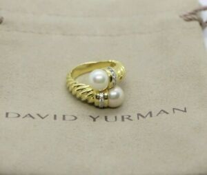 $2,950 David Yurman 18K Yellow Gold Bypass Pearl Cable Ring with Round Diamonds