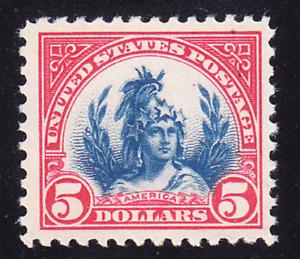 """US Scott 573 old $5 """"America"""" M/NH/OG/VF CV $230"""