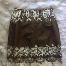 Ann Taylor LOFT Womens Sz 10P Cotton Floral Skirt Brown Pleated Side Zip NWT
