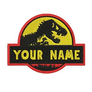 CHILD Custom Jurassic Park Dino Embroidered Name Tag Patch [IRON-ON] - YOUR NAME