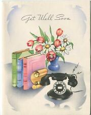 VINTAGE BLACK ROTARY DIAL TELEPHONE BOOKS TULIPS VASE GET WELL GREETING CARD