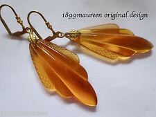 Art Deco earrings 1920s 1930s Art Nouveau vintage amber glass statement LARGE