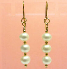 Pearl Earrings, Natural White Freshwater, 9ct Gold Earrings, Hooks, Gold Beads