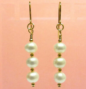 White Pearl Earrings, 9ct Gold Earrings, Hooks Drop Dangle with Gold Beads