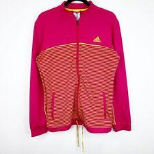 Adidas Hot Pink Yellow Track Jacket Coat Size Large Womens