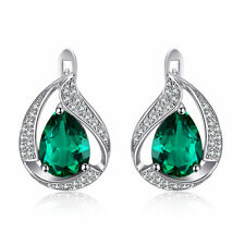925 Sterling Silver Emerald Zircon Women Jewelry Hot Sell Clip Earrings SE038