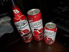 3 LOT Dale Earnhardt Jr. Special Edition Budweiser Beer Bottle 22oz & 24 &12 Can