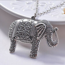 Elegant Charm Elephant Pendant Sweater Long Chain Retro Silver Necklace A-OKs