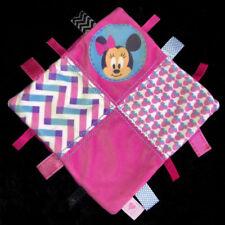 Doudou carré plat rose et bleu Minnie Disney Baby Nicotoy étiquettes coeur