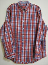 IZOD Large Red Blue Plaid Pocket Classic Long Sleeve Button Mens Cotton Shirt