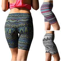 Womens Print Sport Pants Soft Brushed Active Stretch Yoga Bike Short Pants P