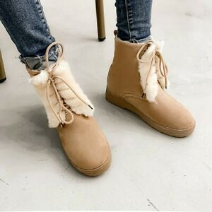 Winter Women Warm Thick Snow Plush Boots Lace Up Low Heel Round Toe Causal Shoes