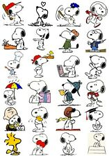 65 Mixed Snoopy Peanuts Small Sticky White Paper Stickers Labels New