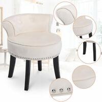 Vanity Make Up Dressing Stool Padded Cushioned Chair Velvet w/ Wood Legs Cream