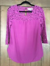 Old Navy Maternity Illusion Lace Top Sz. M Magenta