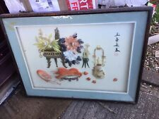 Vintage Oriental Chinese Shell sculpture art Wall hanging picture Prawns Rare