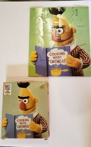 VINTAGE MB SESAME STREET MUPPETS 24 PIECE PUZZLE BERT COOKING OATMEAL  COMPLETE