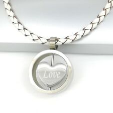 Silver Chrome Round Love Heart Pendant Womens Braided White Leather Necklace