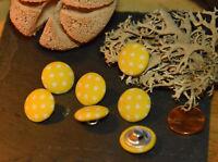Bunte Stoff Punkten Knopf m. Steg Knöpfe 1,5cm 15mm 5 Stück Eyecatcher Gelb