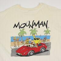 Destroyed Vtg Moonman T-Shirt XL Distressed Dirty White Grunge Punk Butt 90s