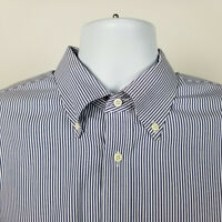 Nordstrom Mens White Blue Striped Dress Button Shirt Size 17 - 36