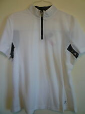 New Danskin womens Large 12 14 white sheer athletic apparel workout top zipper