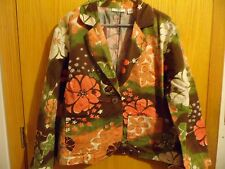 CATO WOMAN BROWN PINK PEACH FLOWERED HIPPIE JACKET SIZE 18/20W POCKETS BLING