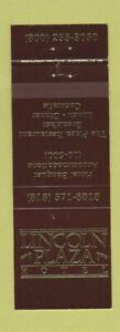 Matchbook Cover - Lincoln Plaza Hotel  Monterey Park CA