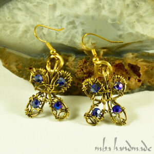 Blue Shiny Swarovski Crystals Butterfly Earrings Brass Wire Wrapped