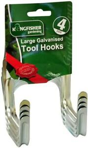 Pack of 4 Large Galvanised Hooks Wall Mounted Tool Hooks for Garden Shed Storage