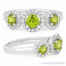 0.71ct Round Cut Peridot Gemstone & Diamond Three-Stone Halo Ring 14k White Gold