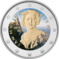2 Euro Gedenkmünze San Marino 2018 coloriert / mit Farbe - Farbmünze Bernini