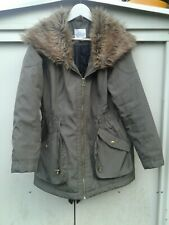 Oversized Faux Fur Collar M&S Khaki Green Parka Coat Size 16