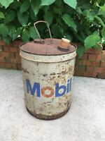 Vintage Mobil Oil Company Can 5 Gallon Motor Oil Gas