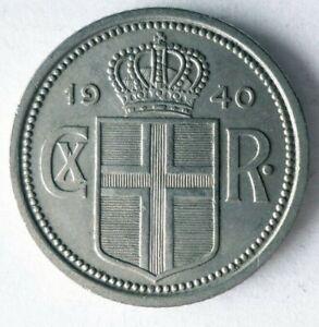 1940 ICELAND 25 AURAR - AU/UNC - Excellent WW2 Type Coins - Lot #L31
