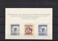 czechoslovakia 1950 ski cup mounted mint stamps ref 6951