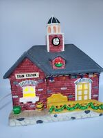 Christmas Village Train Station Lighted House Building Ceramic  Vintage Yuletide