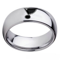 St Louis Blues Team Stainless Steel Rings Men's Band Silver Black Gift Size 6-13