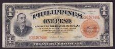 US Philippines Treasury Certificate  1 peso 1941 SN# E2636748E