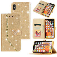 Glitter Bling Flip Wallet Stand Case Leather Cover For iPhone X 8 Plus Galaxy S9