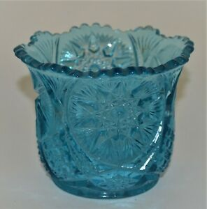 """turquoise aqua blue unknown star pattern pressed glass 3 1/2"""" cup candle holder"""