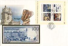 superbe enveloppe PORTUGAL billet de banque 100 ESC 1984 UNC NEUF + TIMBRES