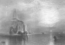 ROYAL NAVY WAR SHIP AFTER BATTLE OF TRAFALGAR, 1864 Seascape Art Print Engraving